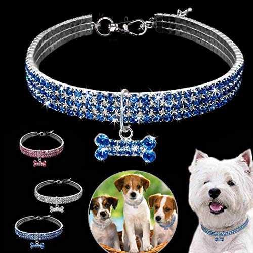 Legendog Cat Collar Fashion Glitter Rhinestone Bone Charm Elastic Pet Collar Dog Collar