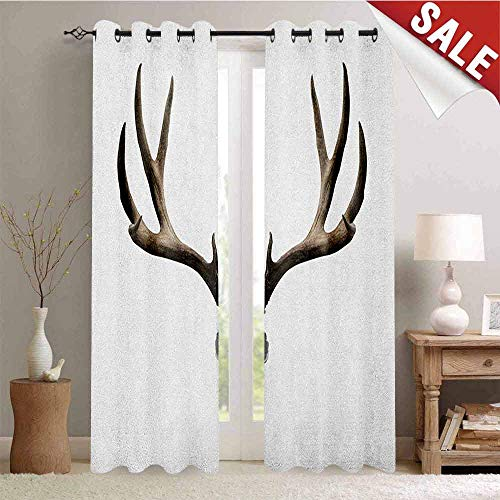 Antlers Blackout Draperies for Bedroom A Deer Skull Skeleton Head Bone Halloween Weathered Hunter Collection Thermal Insulating Blackout Curtain W108 x L108 Inch Warm Taupe Pale Grey