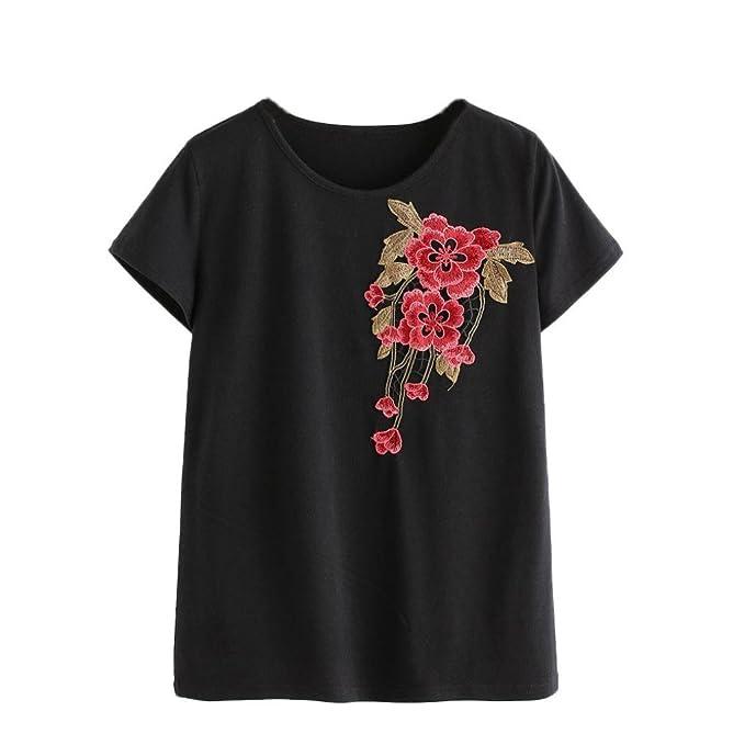Amlaiworld Baumwolle Sommer bunt Blumen Stickerei t-Shirt Frühling Damen  Mode Bluse elegant locker Tops Niedlich Mädchen Lässig Oberteile   Amazon.de  ... eab0038ca2