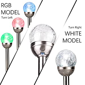 GIGALUMI Solar Lights Outdoor, Cracked Glass Ball Dual LED Garden Lights, Landscape/Pathway Lights for Path, Patio, Yard-Color Changing and White-3 Pack