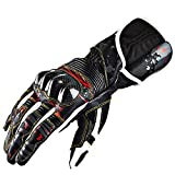 TLMYDD Outdoor Sports Carbon Fiber Leather Motorcycle Gloves Racing Knight Gloves, Black Gloves (Size : M)