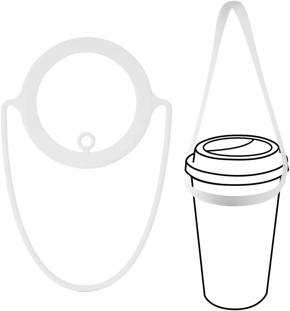 Bone Cup Tie, Portable Cup Carrier, Togo Drink Carrier for Delivery, Reusable Takeout Coffee Carrier with Handle Tie, Silicone Insulated Drink Carrier for Hot Coffee Cup/Keepcup/Travel Tumbler-White