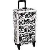 SUNRISE Makeup Case on Wheels 2 in 1 Professional Organizer I3464, 12 Trays, 4 Wheel Spinner, Adjustable Drawer Dividers, White Zebra