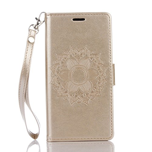 SRY-Conjuntos de teléfonos móviles de Huawei Para la cubierta del caso de Huawei P9 Lite, color puro grabado con la ranura para tarjeta, acollador, hebilla magnética, abierto plano el teléfono Shell P Gold