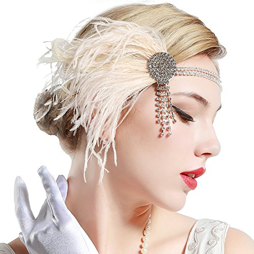 BABEYOND 1920s Peacock Headpiece Flapper Wedding Headband with Crystal 20s Feather Headband 1920s Flapper Accessories (Pink) ()