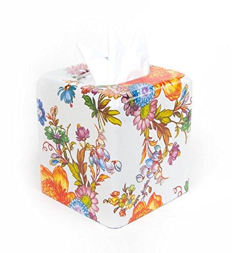 MacKenzie-Childs Flower Market Enamel Tissue Box Cover - White