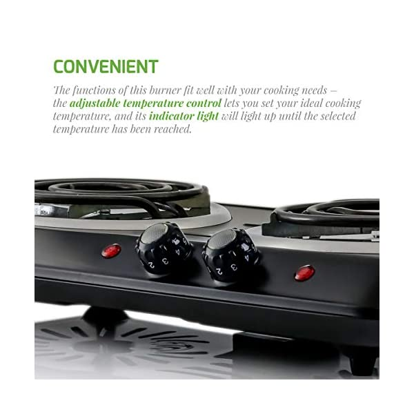 Ovente 5.7 & 6 Inch Double Hot Plate Electric Coil Stove, Portable 1700 Watt Cooktop Countertop Kitchen Burner with… 3