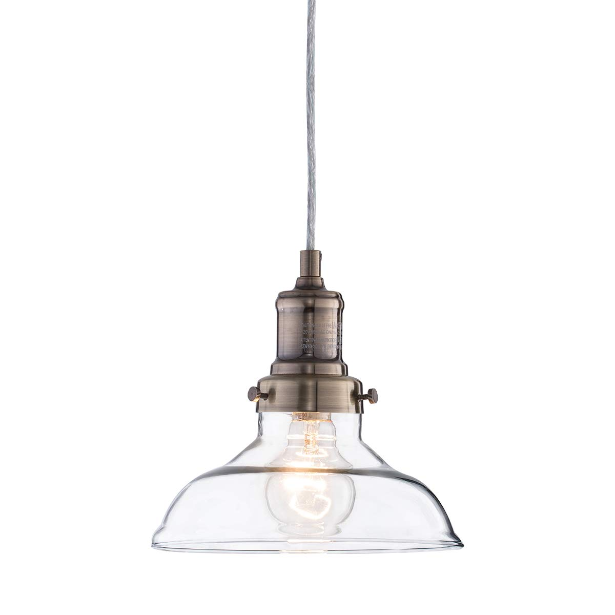 Mini Vintage Clear Glass Pendant Light, Edison Industrial Design Hanging Fixture Lights, Single Bulb Lighting for Kitchen Island, Living Room, Dining Room, 1-Pack by Lanros