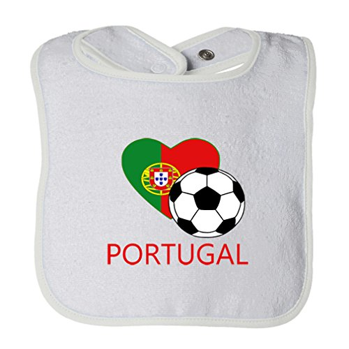 (Cute Rascals Love Soccer Heart Portugal #2 Tot Contrast Trim Terry Bib White)