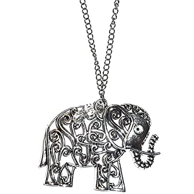 Hidden Hollow Beads Rear View Mirror Car Charm Ornament, Sun Catcher, Hanging Pendent, Stainless Steel Chain (Elephant) : Garden & Outdoor