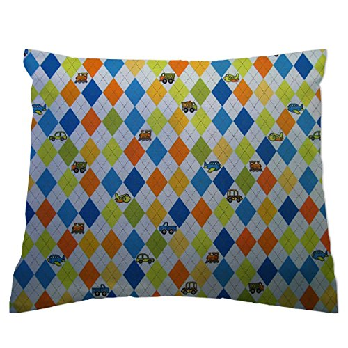 - SheetWorld Crib / Toddler Percale Baby Pillow Case - Argyle Blue Transport - Made In USA
