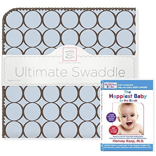 SwaddleDesigns Ultimate Swaddle Blanket, Made in USA, Premium Cotton Flannel, and The Happiest Baby DVD Bundle, Brown Mod Circles on Pastel Blue Count Flannel Receiving Blankets