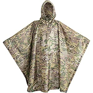 USGI Industries Military Poncho Emergency Tent Shelter Multi Use Rip Stop Camo Survival Rain Poncho (OCP Multicam)