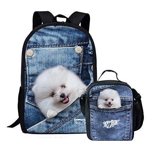 Toy Bag Denim (LedBack Cute 3D Animal School Bag and Lunch Bag for Girls Boys Kids Denim Pomeranian Dog Insulated Lunch Box Cooler Bag Thermal Lunch Bag Book Bag with Lunch Box Adjustable Strap Children Schoolbag)