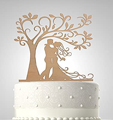Rubies & Ribbons Wedding Cake Topper Couple Kissing Under Tree Party Decoration with Gift Box