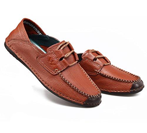 Chaussure De Marche Pour Hommes En Cuir Décontracté - Antidérapante Et Respirante - Parfaite Pour Le Travail Et Les Activités De Plein Air Marron