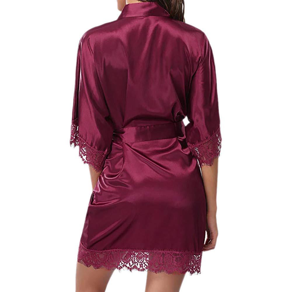 Amazon.com: YOcheerful Womens Spring Bath Robe Bathrobe, Lady Lace Sleepwear Bathrobe Solid Nightwear Pajamas Sleepwear Bath Robe: Clothing