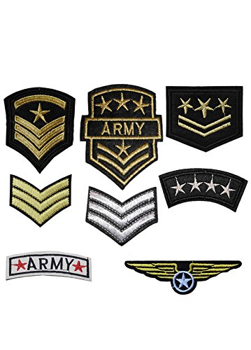 (SET of 8 Iron on / Sew On Army Embroidered Patch Applique military Embroidery Motif officer transfer)