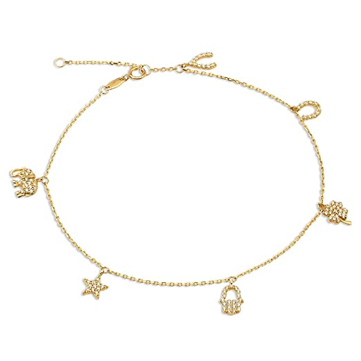 gold elephant women diamonds lab bare yellow for beach dp anklet star foot wear