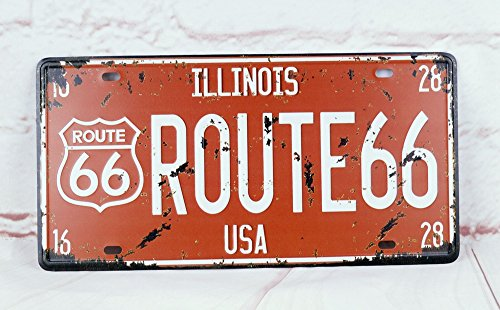 - Route 66 Classic Car Plate Auto Vintage License Plate Tag Antique Home Pub Bar Decor Tin Signs Wall Plaque