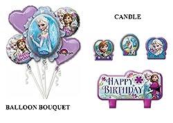 Disney Frozen Elsa and Anna Birthday Balloon Bouquet Birthday Party Favor Supplies 5ct Foil Balloon Bouquet with Happy Birthday Candles
