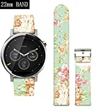 S3 Classic Bands Flowers,Ecute Leather Replacement Band Strap for Samsung Gear S3 Frontier/Gear S3 Classic/Pebble Time-22mm Band Watch and more 22mm Band Lug Watches - Vintage Art Flowers