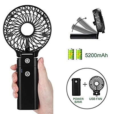 COMLIFE Handventilator, Mini tragbarer persönlicher USB-Ventilator mit Aufladbarem 5200mAh, faltbarer Tischventilator…