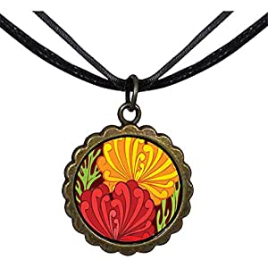 Chicforest Bronze Retro Style Underwater Yellow And Red Flowers Round Flower Pendant