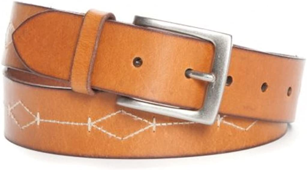 Mens Crown /& Ivy Bridle Cut leather jean Belt with Embroidery