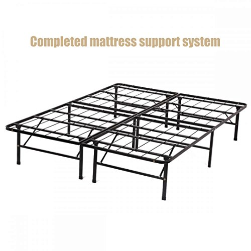 New Modern Bi-fold Folding Platform Metal Base Frame Completed Mattress Support System Foundation Lightweight Super Strong Base - Queen Size - Prime In Outlet Orlando