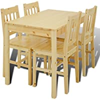 Festnight 5 Pcs Wooden Kitchen Dining Table Set with 4 Chairs Natural/ Brown