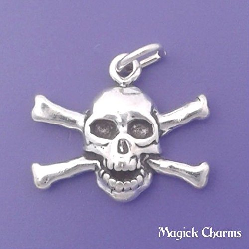 (925 Sterling Silver Skull with Crossbones Pirate Charm Pendant Jewelry Making Supply, Pendant, Charms, Bracelet, DIY Crafting by Wholesale Charms)