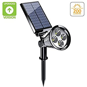 Hoont 2-in-1 Bright Outdoor LED Solar Spotlight / Solar Powered Light for Patio, Entrance, Landscape, Garden, Driveway, Lawn, Etc./ Great for Accents, Security Lighting, Etc. [UPGRADED VERSION]