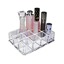QG Rectangular Clear Acrylic Cosmetic Organizer Makeup Lipstick & Lip Gloss Holder with 12 Spaces Storage