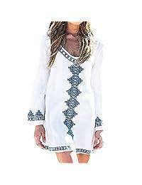 Vogholic Women's Fashion Long Sleeve Cotton Beach Bikini Swimsuit Cover Up