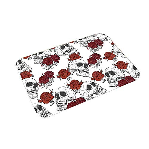 YOLIYANA Skull Decorations Kitchen Home Floor Mat,Retro Gothic Dead Skeleton Figures with Rose Halloween Spooky Trippy Romantic for Kitchen Home,23