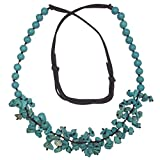 Long Imitation Turquoise Stone Chip Cluster Beaded Brown Cord Necklace