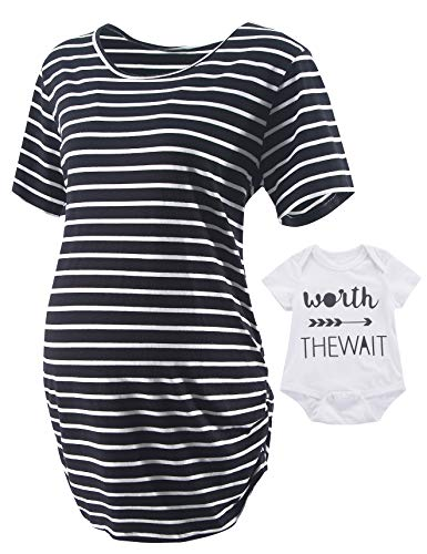 2PCS Women's Maternity Short Sleeve T-Shirt Side Ruched Tops Striped Pregnancy Clothes (Black01+Newborn Bodysuit, Large)