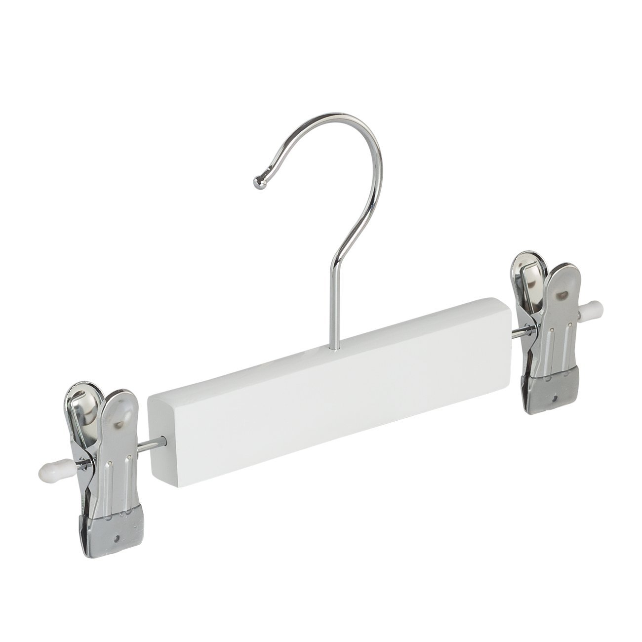5 x Skirt / trouser hanger (child) white lacquered with adjustable chrome finish non-slip clips, 25 cm - THE CLOTHES HANGER GIANT