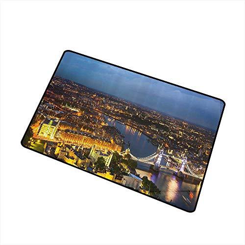 (Axbkl Pet Door mat Modern Sunset at London England Cityscape Night Lights and Tower Bridge Landmark Urban W24 xL35 Super Absorbent mud Yellow Bluegrey)