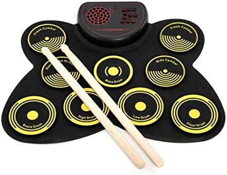 TKFY Mano redoble de Tambor 9 Unilateral Tambor Adultos Jazz Instrumento Midi de percusión Ordenador portátil de batería electrónica Bluetooth para niños