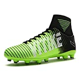 Kid's Junior Men Football Boots Teenager Soccer Athletics Training Shoes Outdoor Sports Sneakers Unisex for Boy Girl Women(Green EU35)