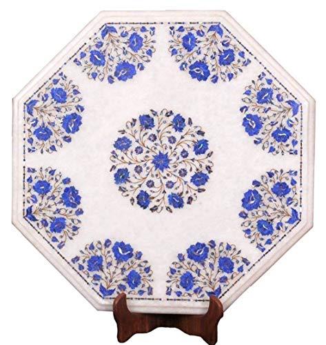 Khusboo Designs Fine Work Marble Coffee Table Inlay Lapis Lazuli Semi Precious Stones Sofa Side Tables