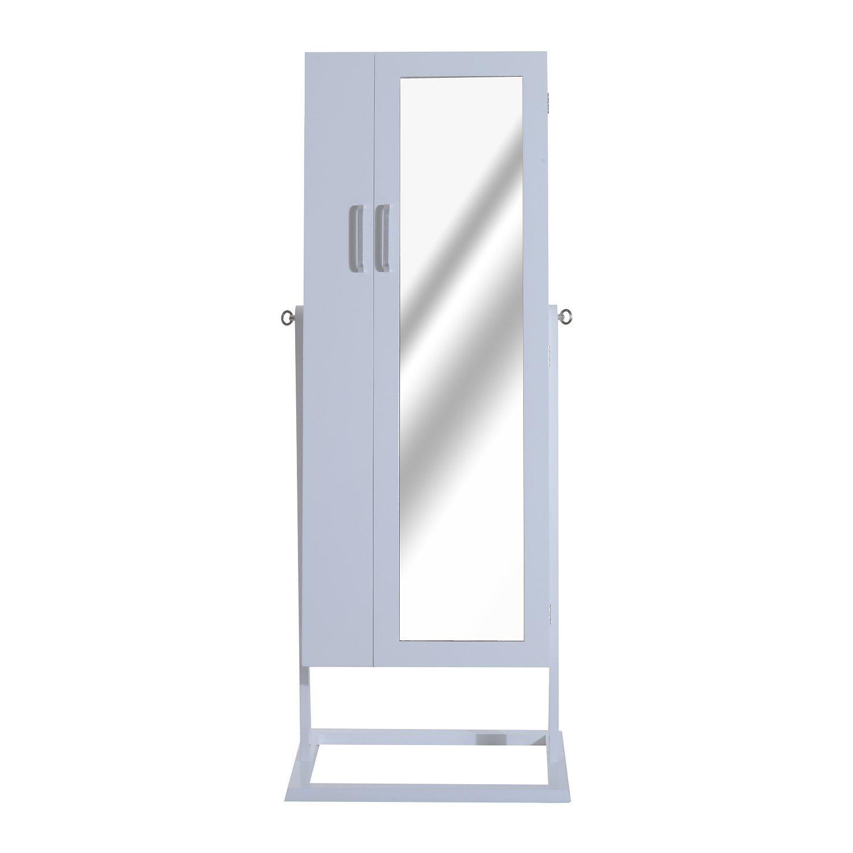 HomCom 58'' Adjustable Mirrored Jewelry Cabinet w/Stand - White