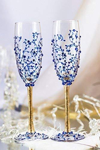 Gold & Royal Blue Personalized Wedding Set Champagne Flutes - Wedding Toasting Flutes Set - Flute Engraved Champagne Glasses - Server Gift Set]()