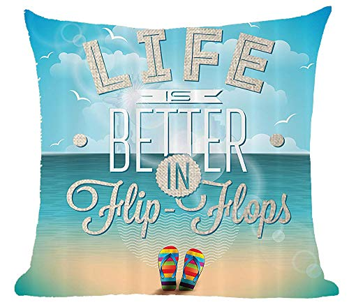Queen's designer Life Is Better In Flip Flop Blue Sky Blue Sea Cotton Linen Square Decorative Home Indoor Throw Pillow Case Cushion Cover 18