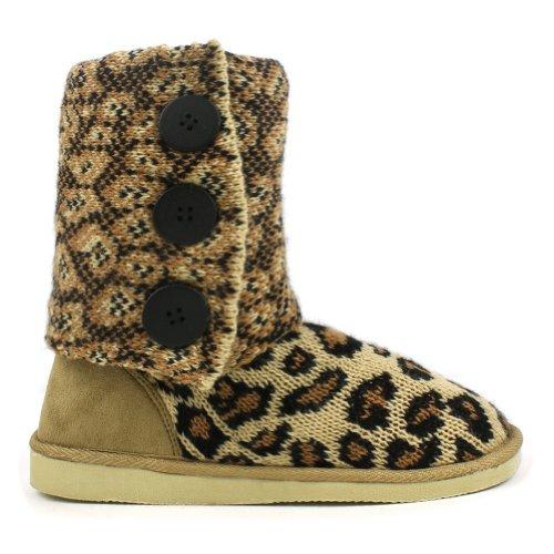 Leopard Fold-Over Crochet Slouchy Knit Sweater Button Flat Boot