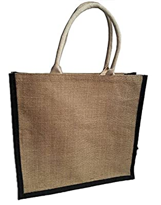 KVR Eco Environment Friendly natural Jute burlap grocery shopping tote bag