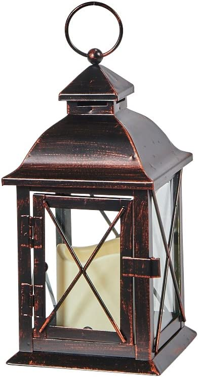 Smart Living 84035-LC Smart Design STI84035LC Aversa Metal Lantern with LED Candle with Set, 10