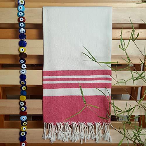 Secret Sea Collection Lightweight Turkish Peshtemal Towel %100 Bamboo 70'' x 35''  (Pomegranate Red)